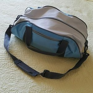 Blue and cream gym bag with gray trim